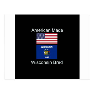 """American Born..Wisconsin Bred"" Flag Design Postcard"