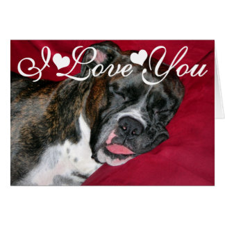 American Boxer Dog Image I Love You Card