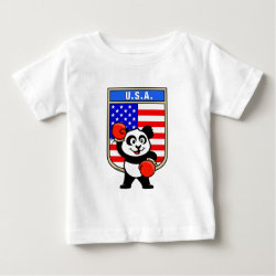 Baby Fine Jersey T-Shirt with United States Boxing Panda design