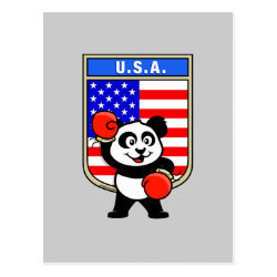 Postcard with United States Boxing Panda design