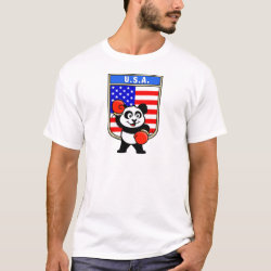 Men's Basic T-Shirt with United States Boxing Panda design