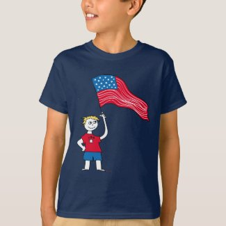 American Boy with Flag T-shirt