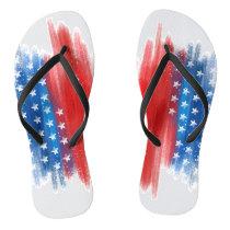 American Brush Stroke flag Flip Flops
