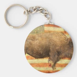 American Buffalo Basic Round Button Keychain