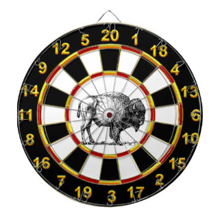 American Buffalo Bison an gold foil plated numbers Dartboard With Darts
