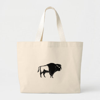 American Buffalo Side Woodcut Black and White Large Tote Bag