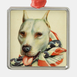 American Bull Terrier, Antique Postcard circa WWI Metal Ornament