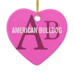 American Bulldog Breed Monogram Ceramic Ornament