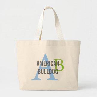 American Bulldog Breed Monogram Large Tote Bag