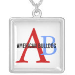 American Bulldog Breed Monogram Silver Plated Necklace