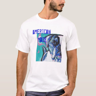 American Bulldog Bright Colorful Pop Dog Art T-Shirt
