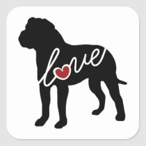 American Bulldog (Bully) Love Square Sticker