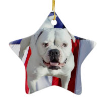 American Bulldog Ceramic Ornament