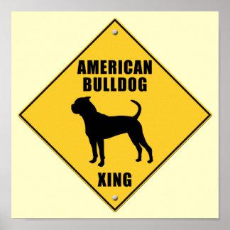 American Bulldog Crossing (XING) Sign Print