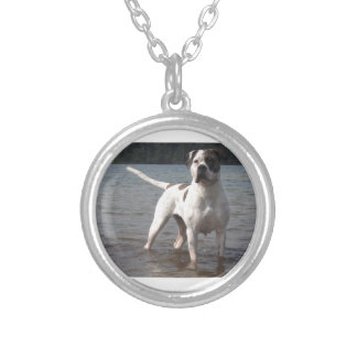 American Bulldog Dog In The Water Silver Plated Necklace