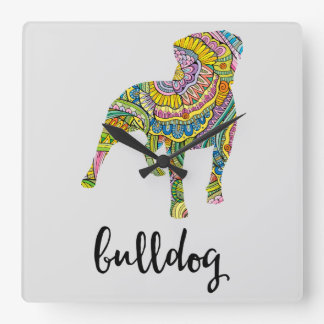 American Bulldog Floral Pattern Silhouette Square Wall Clock