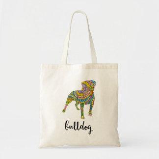 American Bulldog Floral Pattern Silhouette Tote Bag