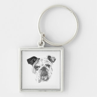 American Bulldog Greyscale Keychain