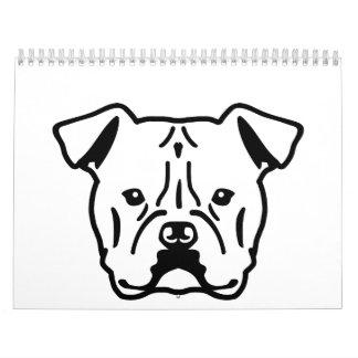 American Bulldog head Wall Calendar