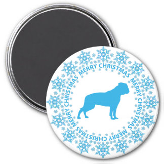 American Bulldog Merry Christmas Round Magnet