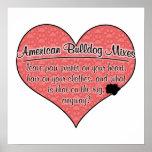 American Bulldog Mixes Paw Prints Dog Humor Poster