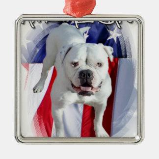 American Bulldog Square Metal Christmas Ornament
