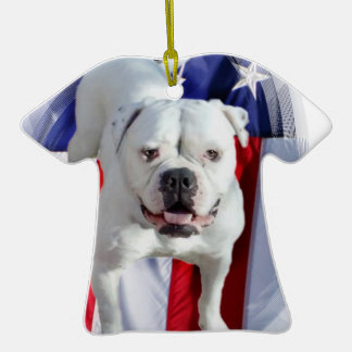 American Bulldog Double-Sided T-Shirt Ceramic Christmas Ornament