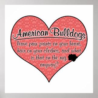 American Bulldog Paw Prints Dog Humor Print