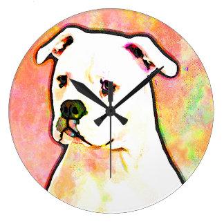 American Bulldog Pop Art Portrait Large Clock