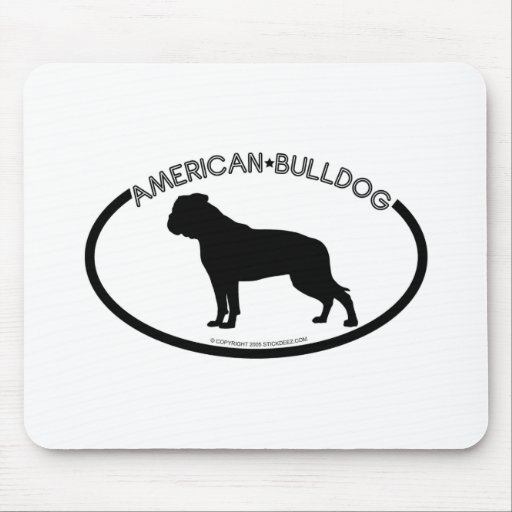 American Bulldog Silhouette Black Mousepad