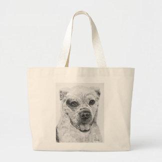 American Bulldog Smiling Large Tote Bag
