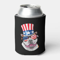 American Bulldog USA Flag Hat Glasses 4th of July Can Cooler