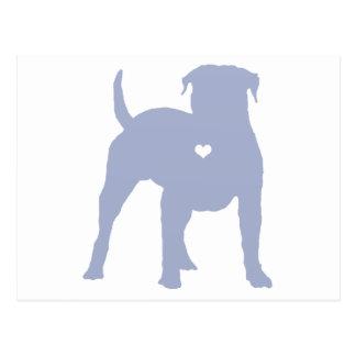 American Bulldog with a heart dog art silhouette Postcard