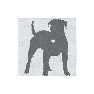 American Bulldog with a heart dog art silhouette Stone Magnet