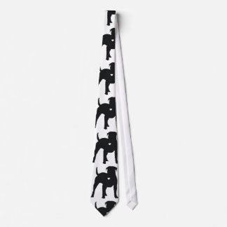 American Bulldog with a heart dog art silhouette Tie