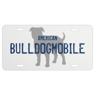 AMERICAN BULLDOGMOBILE Silhouette with Text License Plate
