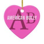 American Bully Breed Monogram Ceramic Ornament