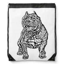 American Bully dog Drawstring Backpack