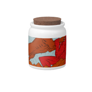 American Bully Dog Fighting Satan Drawing Candy Jars