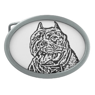 American Bully dog Oval Belt Buckle