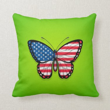 American Butterfly Flag on Green Pillows