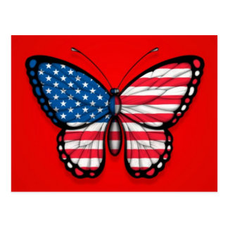 American Butterfly Flag on Red Postcard