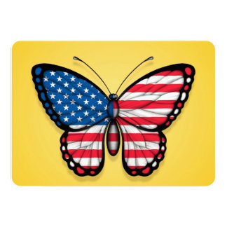 """American Butterfly Flag on Yellow 5"""" X 7"""" Invitation Card"""