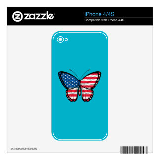American Butterfly Flag Decal For iPhone 4