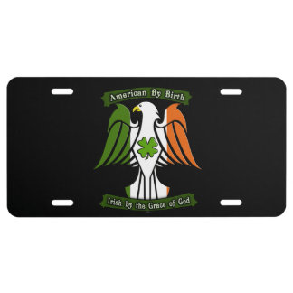 American by Birth, Irish by the Grace of God Eagle License Plate