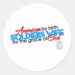 American by birth round sticker