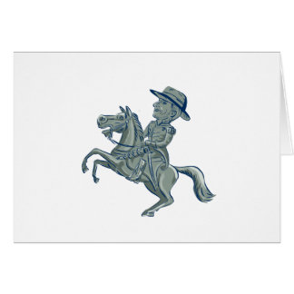 American Cavalry Officer Riding Horse Prancing Car Card