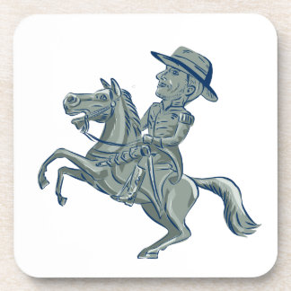 American Cavalry Officer Riding Horse Prancing Car Coaster