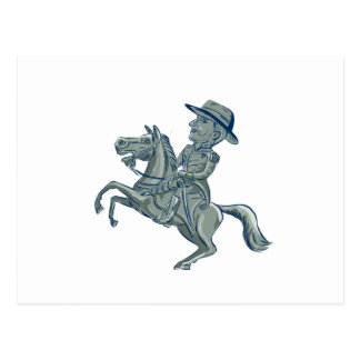 American Cavalry Officer Riding Horse Prancing Car Postcard