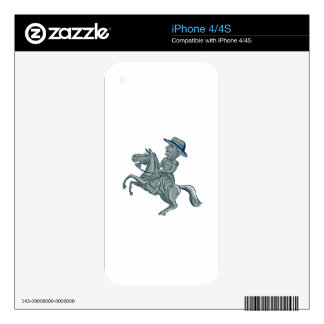 American Cavalry Officer Riding Horse Prancing Car Skin For The iPhone 4S